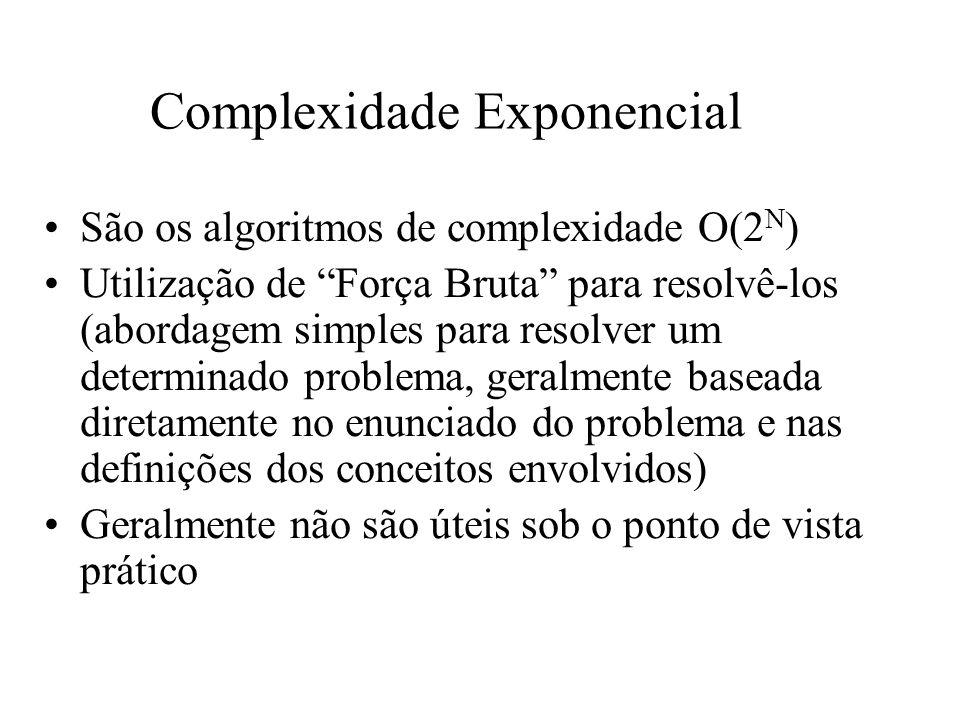 Complexidade Exponencial São os algoritmos de complexidade O(2 N ) Utilização de Força Bruta para resolvê-los (abordagem simples para resolver um dete