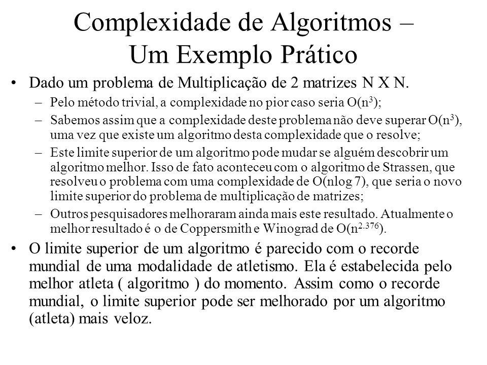 Complexidade de Algoritmos – Um Exemplo Prático Dado um problema de Multiplicação de 2 matrizes N X N. –Pelo método trivial, a complexidade no pior ca