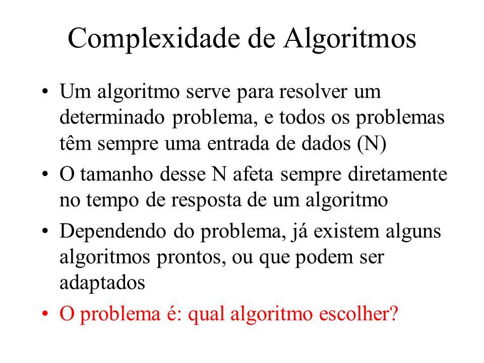 Complexidade NLogN Como o próprio nome diz, são algoritmos que têm complexidade O(NlogN) Ocorre tipicamente em algoritmos que dividem o problema em problemas menores, porém juntando posteriormente a solução dos problemas menores A maioria dos algoritmos de ordenação externa são de complexidade logarítmica ou N Log N