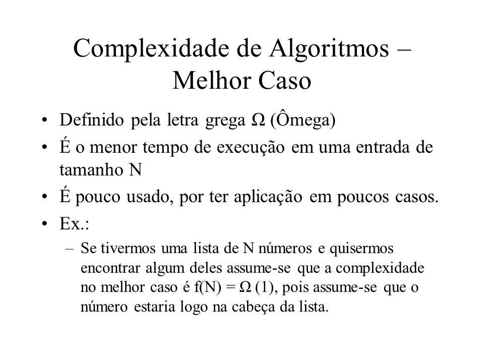 Complexidade de Algoritmos – Caso Médio –Definido pela letra grega θ (Theta) –Dos três, é o mais difícil de se determinar –Deve-se obter a média dos tempos de execução de todas as entradas de tamanho N, ou baseado em probabilidade de determinada condição ocorrer –No exemplo anterior: A complexidade média é P(1) + P(2) +...