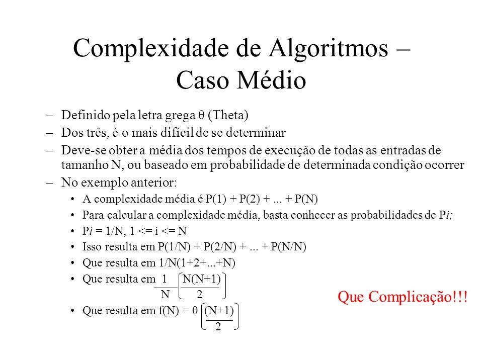 Complexidade de Algoritmos – Caso Médio –Definido pela letra grega θ (Theta) –Dos três, é o mais difícil de se determinar –Deve-se obter a média dos t