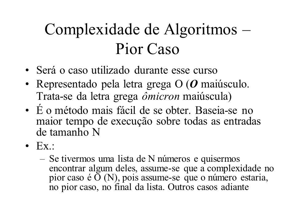 Complexidade de Algoritmos – Pior Caso Será o caso utilizado durante esse curso Representado pela letra grega O (O maiúsculo. Trata-se da letra grega