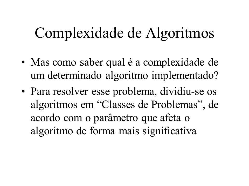 Classes de Algoritmos São elas: 1.Complexidade Constante 2.Complexidade Linear 3.Complexidade Logarítmica 4.NlogN 5.Complexidade Quadrática 6.Complexidade Cúbica 7.Complexidade Exponencial