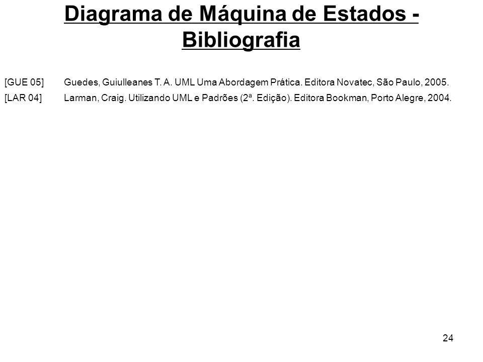 24 Diagrama de Máquina de Estados - Bibliografia Larman, Craig. Utilizando UML e Padrões (2ª. Edição). Editora Bookman, Porto Alegre, 2004.[LAR 04] Gu