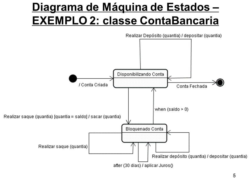16 Diagrama de Máquina de Estados - ELEMENTOS Nome: ESTADO DE HISTÓRIA Finalidade: Representa o registro do último sub-estado em que o objeto se encontrava, quando, por algum motivo, o processo foi interrompido.