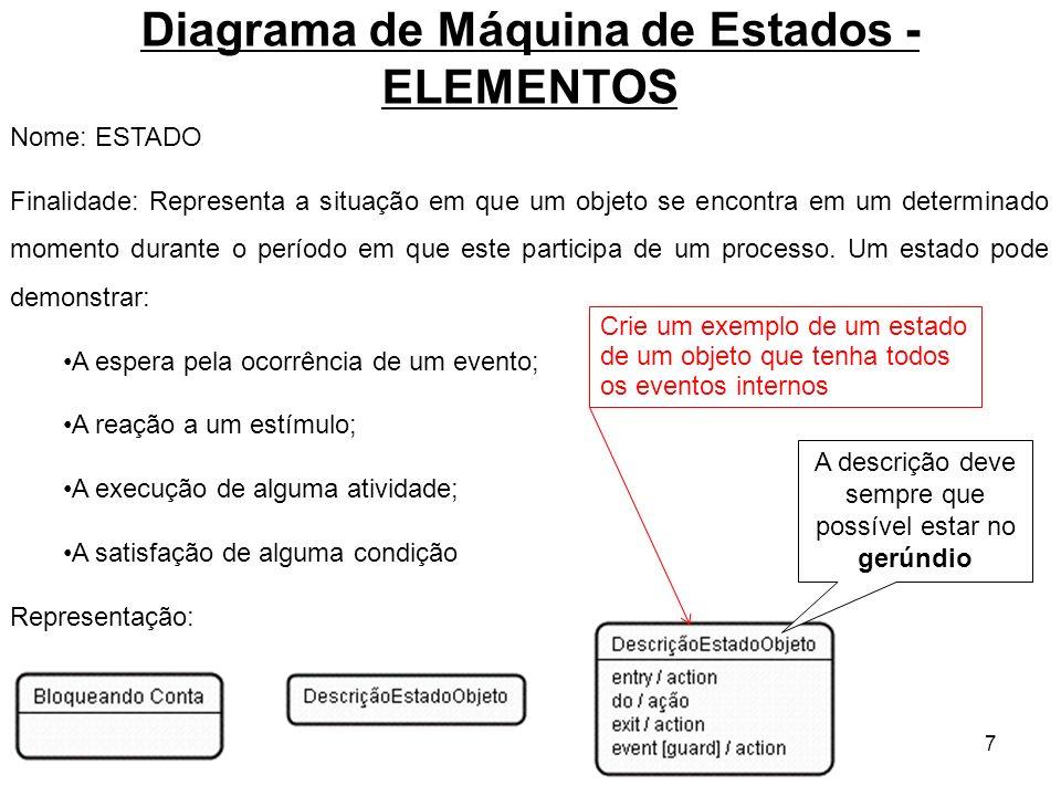 8 Diagrama de Máquina de Estados - ELEMENTOS Nome: TRANSIÇÃO Finalidade: Representa um evento(Evento de Ativação) que causa uma mudança no Estado de um objeto, gerando um novo estado.