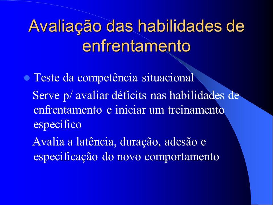 Avaliação das habilidades de enfrentamento Teste da competência situacional Serve p/ avaliar déficits nas habilidades de enfrentamento e iniciar um tr