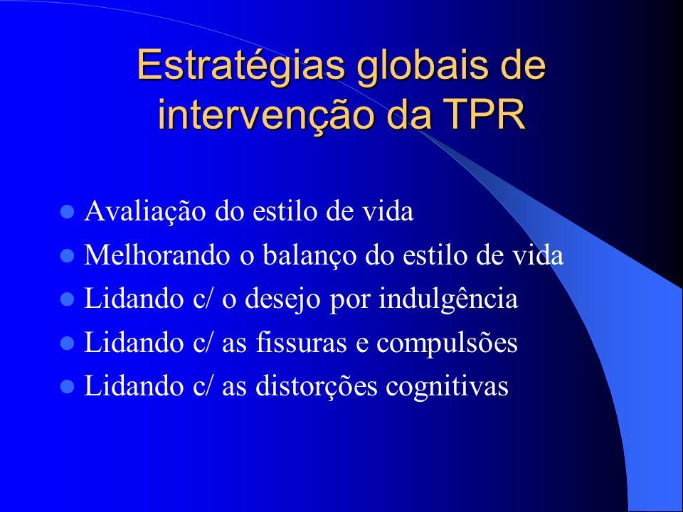 Estratégias globais de intervenção da TPR Avaliação do estilo de vida Melhorando o balanço do estilo de vida Lidando c/ o desejo por indulgência Lidan