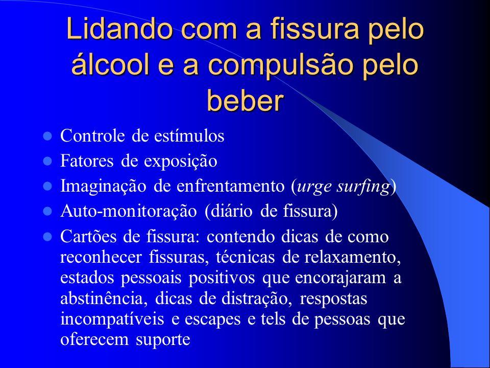 Lidando com a fissura pelo álcool e a compulsão pelo beber Controle de estímulos Fatores de exposição Imaginação de enfrentamento (urge surfing) Auto-