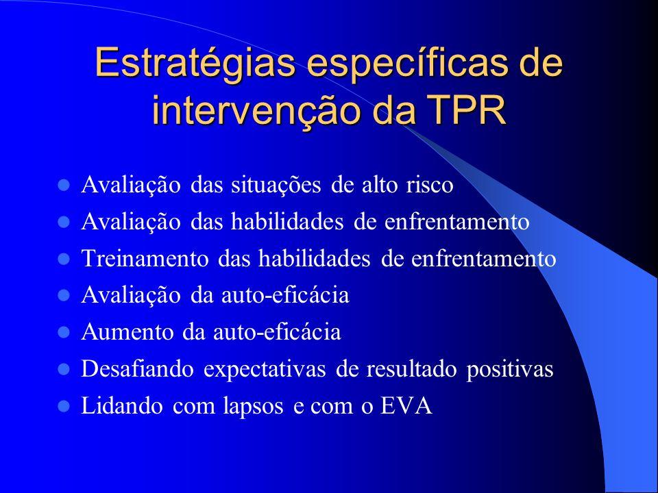 Estratégias específicas de intervenção da TPR Avaliação das situações de alto risco Avaliação das habilidades de enfrentamento Treinamento das habilid