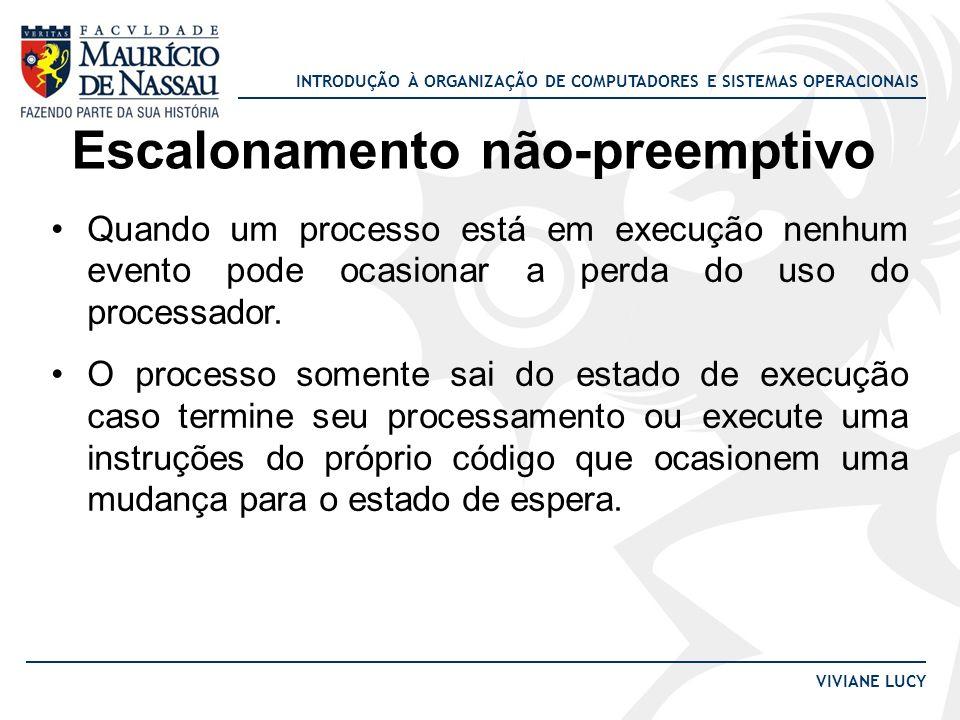INTRODUÇÃO À ORGANIZAÇÃO DE COMPUTADORES E SISTEMAS OPERACIONAIS VIVIANE LUCY Escalonamento Circular Exemplo: Escalonador circular com dois processos, e fatia de tempo 2 u.t.