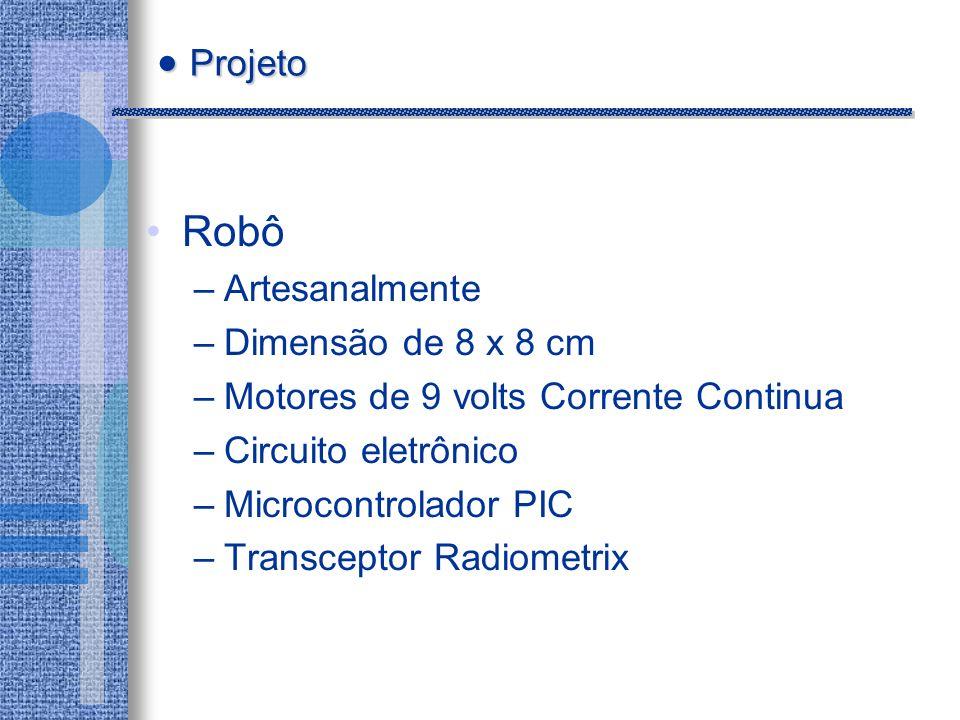 Robô –Artesanalmente –Dimensão de 8 x 8 cm –Motores de 9 volts Corrente Continua –Circuito eletrônico –Microcontrolador PIC –Transceptor Radiometrix Projeto Projeto