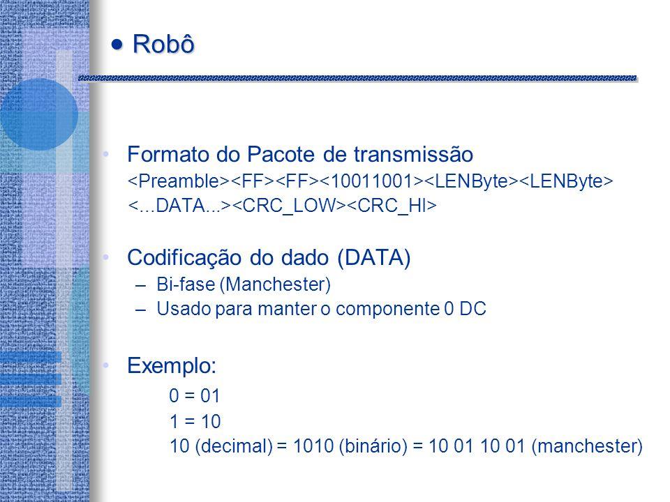 Formato do Pacote de transmissão Codificação do dado (DATA) –Bi-fase (Manchester) –Usado para manter o componente 0 DC Exemplo: 0 = 01 1 = 10 10 (decimal) = 1010 (binário) = 10 01 10 01 (manchester) Robô Robô