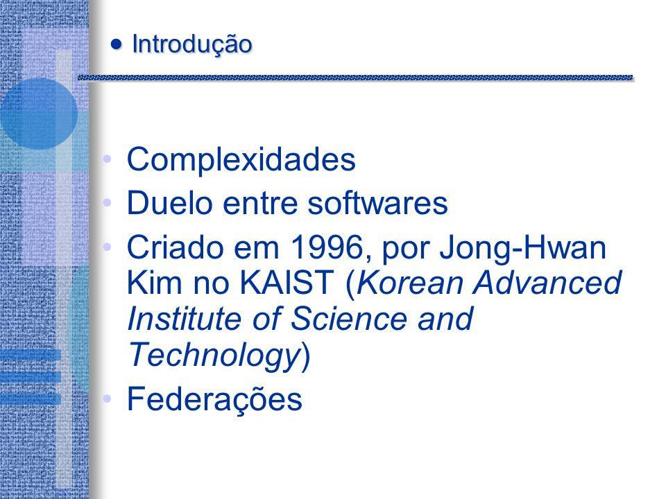 Complexidades Duelo entre softwares Criado em 1996, por Jong-Hwan Kim no KAIST (Korean Advanced Institute of Science and Technology) Federações Introdução Introdução
