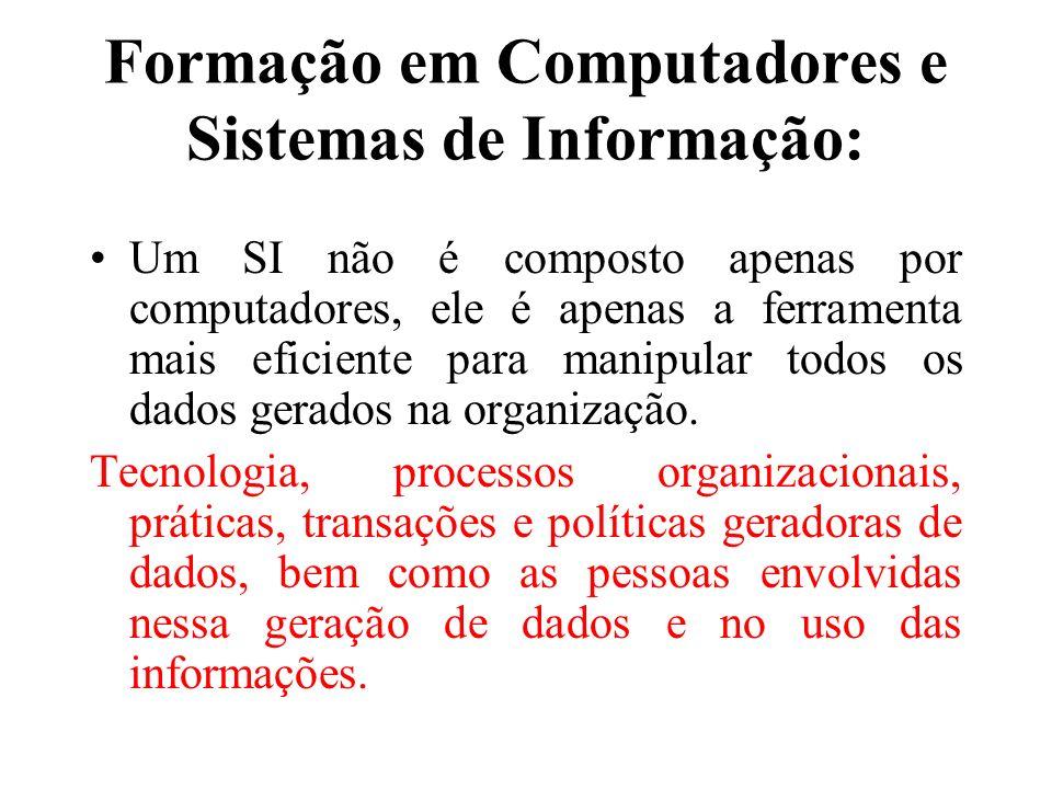 Formação em Computadores e Sistemas de Informação: Um SI não é composto apenas por computadores, ele é apenas a ferramenta mais eficiente para manipul