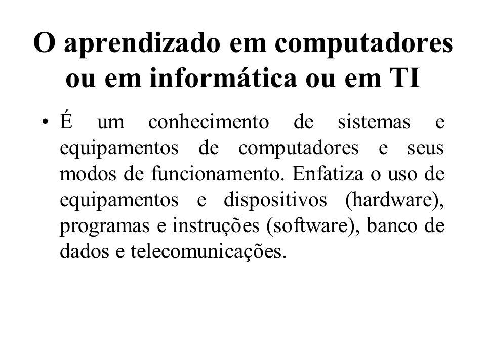 O aprendizado em computadores ou em informática ou em TI É um conhecimento de sistemas e equipamentos de computadores e seus modos de funcionamento. E