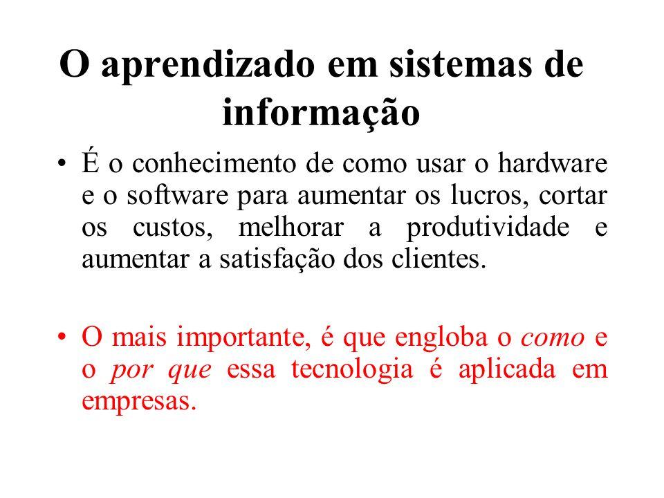 O aprendizado em sistemas de informação É o conhecimento de como usar o hardware e o software para aumentar os lucros, cortar os custos, melhorar a pr