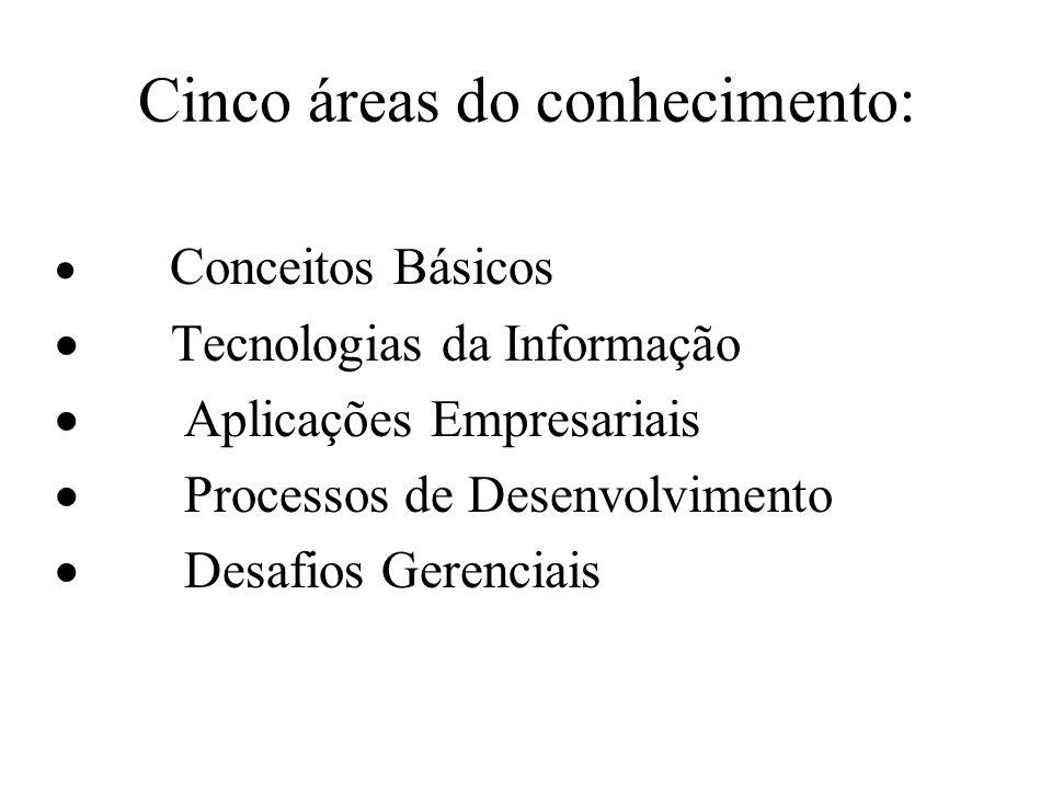 Cinco áreas do conhecimento: Conceitos Básicos Tecnologias da Informação Aplicações Empresariais Processos de Desenvolvimento Desafios Gerenciais