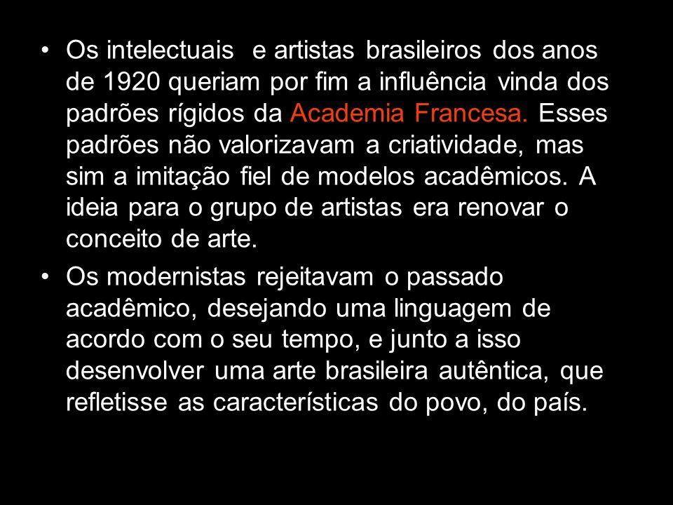Os intelectuais e artistas brasileiros dos anos de 1920 queriam por fim a influência vinda dos padrões rígidos da Academia Francesa. Esses padrões não