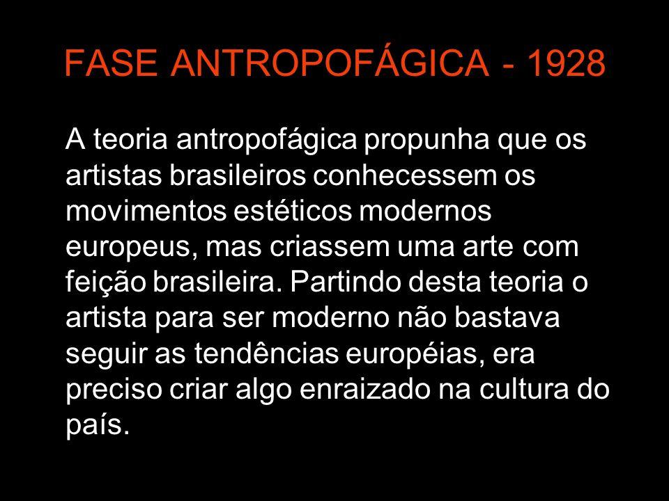 FASE ANTROPOFÁGICA - 1928 A teoria antropofágica propunha que os artistas brasileiros conhecessem os movimentos estéticos modernos europeus, mas crias