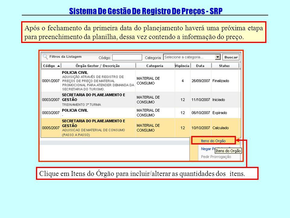 Sistema De Gestão De Registro De Preços - SRP Clique em Itens do Órgão para incluir/alterar as quantidades dos itens. Após o fechamento da primeira da
