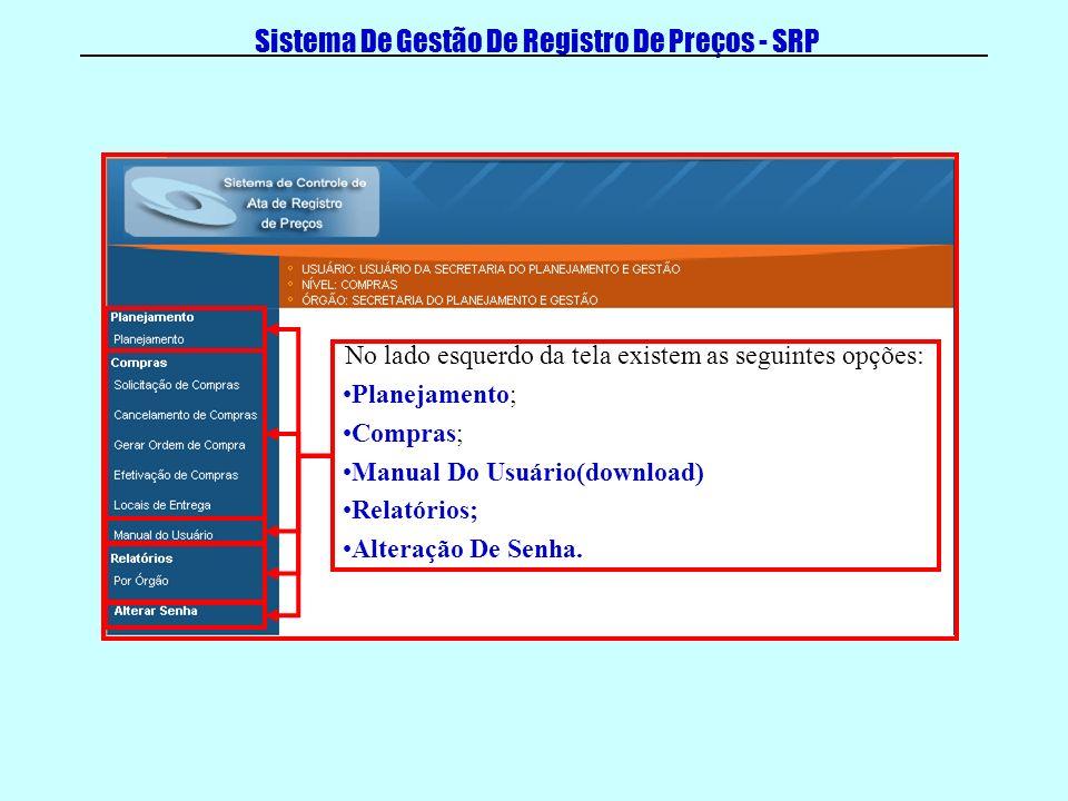 Sistema De Gestão De Registro De Preços - SRP No lado esquerdo da tela existem as seguintes opções: Planejamento; Compras; Manual Do Usuário(download) Relatórios; Alteração De Senha.