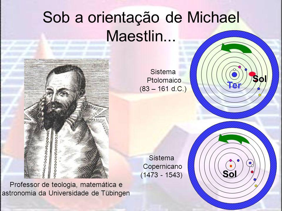 Sob a orientação de Michael Maestlin... Professor de teologia, matemática e astronomia da Universidade de Tübingen Sistema Ptolomaico (83 – 161 d.C.)