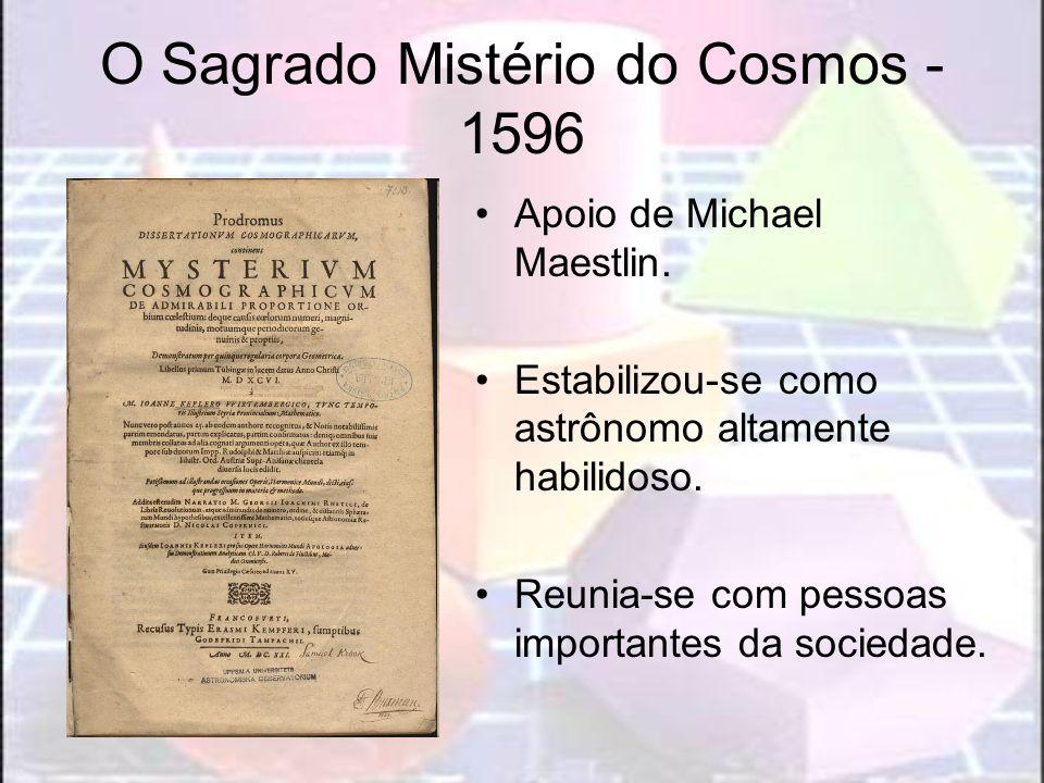 O Sagrado Mistério do Cosmos - 1596 Apoio de Michael Maestlin. Estabilizou-se como astrônomo altamente habilidoso. Reunia-se com pessoas importantes d
