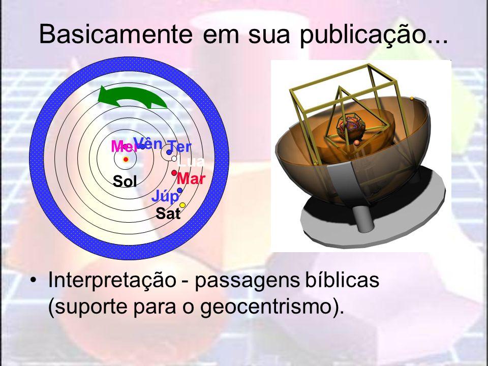 Basicamente em sua publicação... Interpretação - passagens bíblicas (suporte para o geocentrismo). Ter Lua Mer Vên Sol Mar Júp Sat