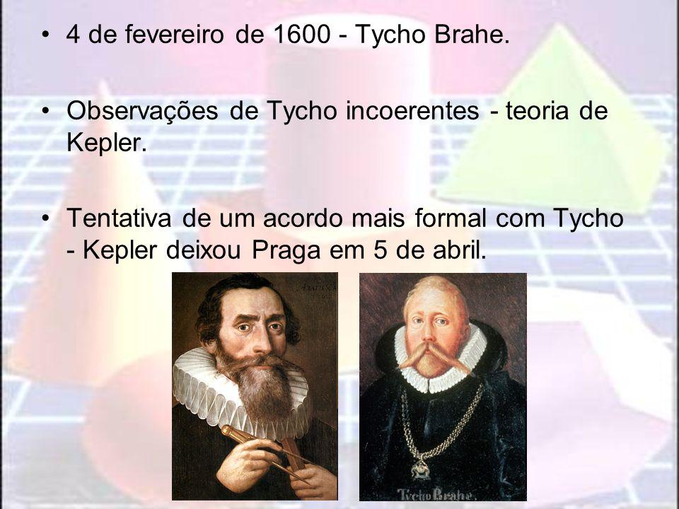 4 de fevereiro de 1600 - Tycho Brahe. Observações de Tycho incoerentes - teoria de Kepler. Tentativa de um acordo mais formal com Tycho - Kepler deixo