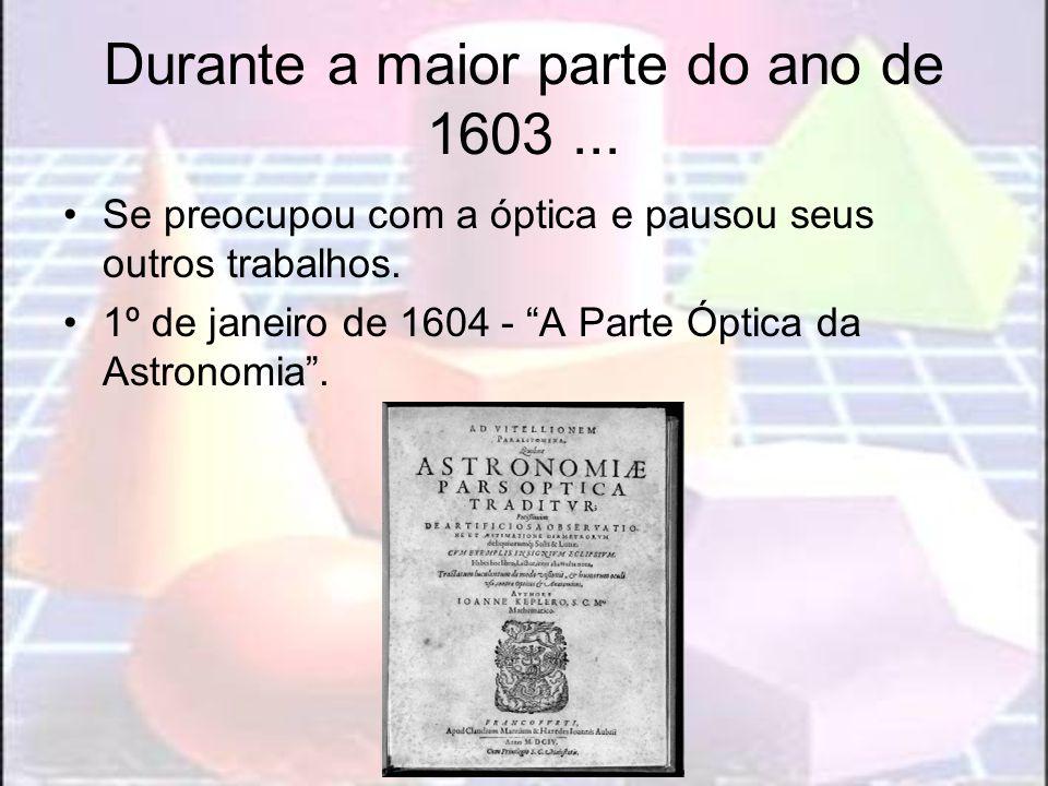 Durante a maior parte do ano de 1603... Se preocupou com a óptica e pausou seus outros trabalhos. 1º de janeiro de 1604 - A Parte Óptica da Astronomia