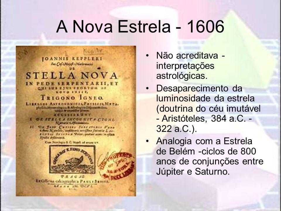 A Nova Estrela - 1606 Não acreditava - interpretações astrológicas. Desaparecimento da luminosidade da estrela (doutrina do céu imutável - Aristóteles