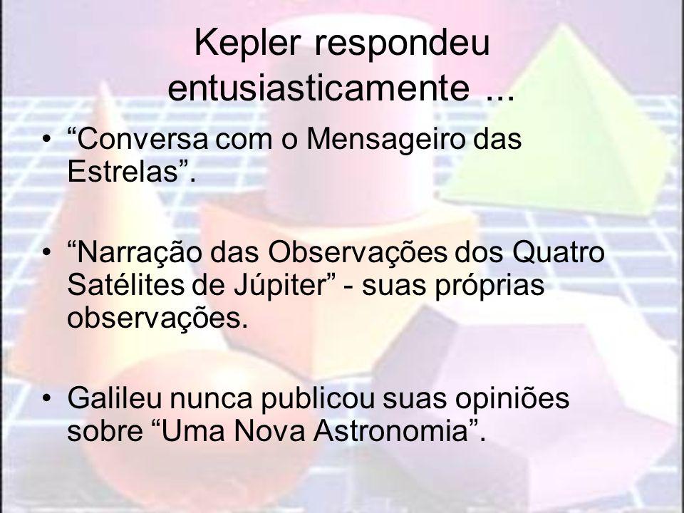 Kepler respondeu entusiasticamente... Conversa com o Mensageiro das Estrelas. Narração das Observações dos Quatro Satélites de Júpiter - suas próprias