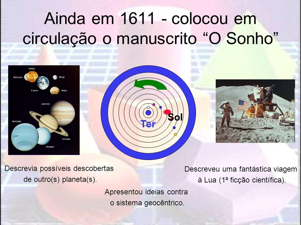 Ainda em 1611 - colocou em circulação o manuscrito O Sonho Descrevia possíveis descobertas de outro(s) planeta(s). Apresentou ideias contra o sistema