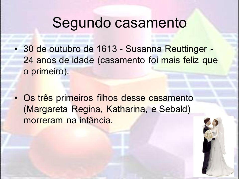 Segundo casamento 30 de outubro de 1613 - Susanna Reuttinger - 24 anos de idade (casamento foi mais feliz que o primeiro). Os três primeiros filhos de