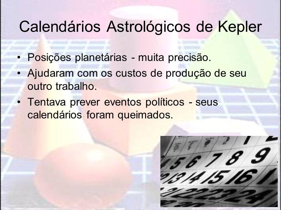 Calendários Astrológicos de Kepler Posições planetárias - muita precisão. Ajudaram com os custos de produção de seu outro trabalho. Tentava prever eve