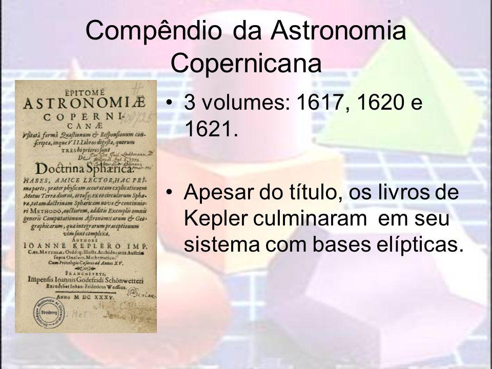 Compêndio da Astronomia Copernicana 3 volumes: 1617, 1620 e 1621. Apesar do título, os livros de Kepler culminaram em seu sistema com bases elípticas.