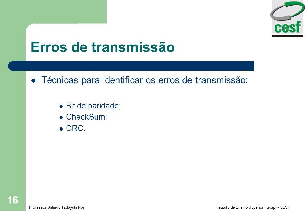 Professor: Arlindo Tadayuki Noji Instituto de Ensino Superior Fucapi - CESF 16 Erros de transmissão Técnicas para identificar os erros de transmissão: