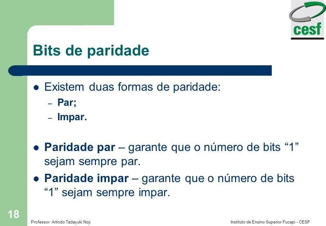 Professor: Arlindo Tadayuki Noji Instituto de Ensino Superior Fucapi - CESF 18 Bits de paridade Existem duas formas de paridade: – Par; – Impar. Parid