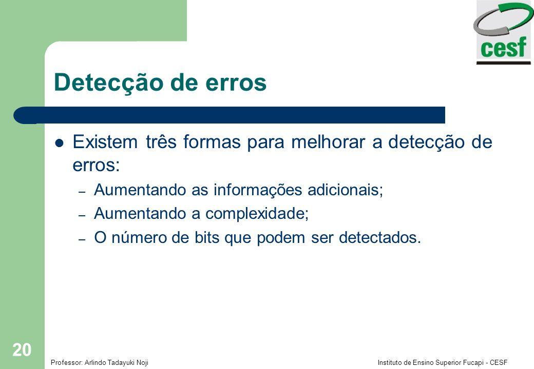 Professor: Arlindo Tadayuki Noji Instituto de Ensino Superior Fucapi - CESF 20 Detecção de erros Existem três formas para melhorar a detecção de erros