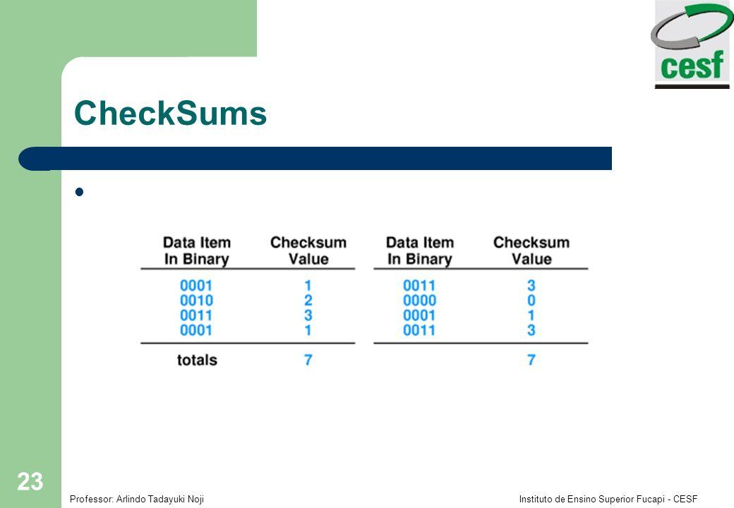Professor: Arlindo Tadayuki Noji Instituto de Ensino Superior Fucapi - CESF 23 CheckSums Exemplo de problema com o uso do CheckSum: