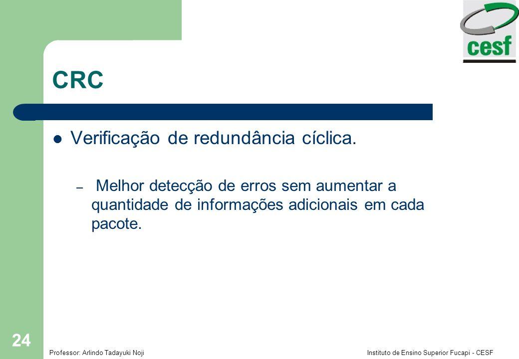 Professor: Arlindo Tadayuki Noji Instituto de Ensino Superior Fucapi - CESF 24 CRC Verificação de redundância cíclica. – Melhor detecção de erros sem
