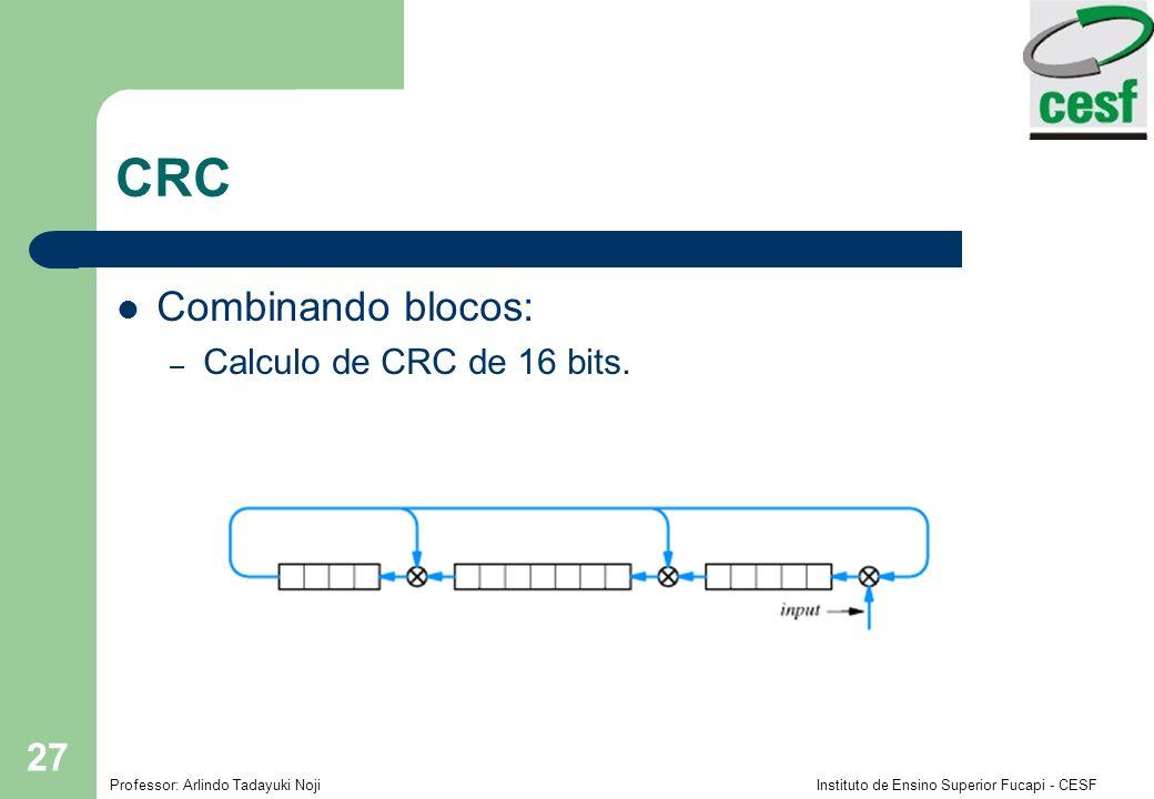 Professor: Arlindo Tadayuki Noji Instituto de Ensino Superior Fucapi - CESF 27 CRC Combinando blocos: – Calculo de CRC de 16 bits.