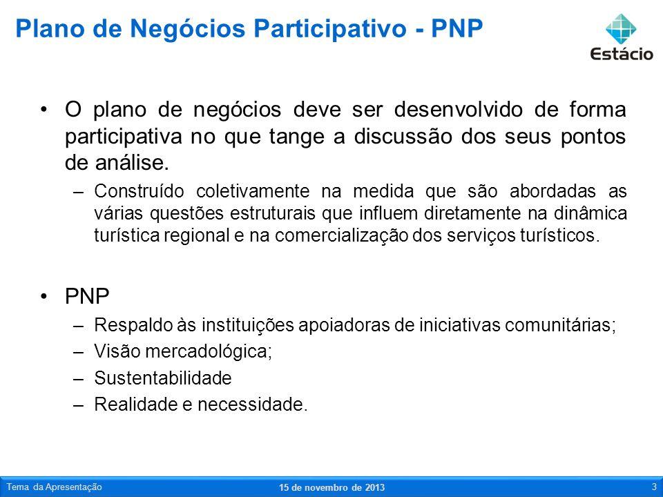 Elaboração do PNP –Todo o processo deve ser estruturado de forma participativa.