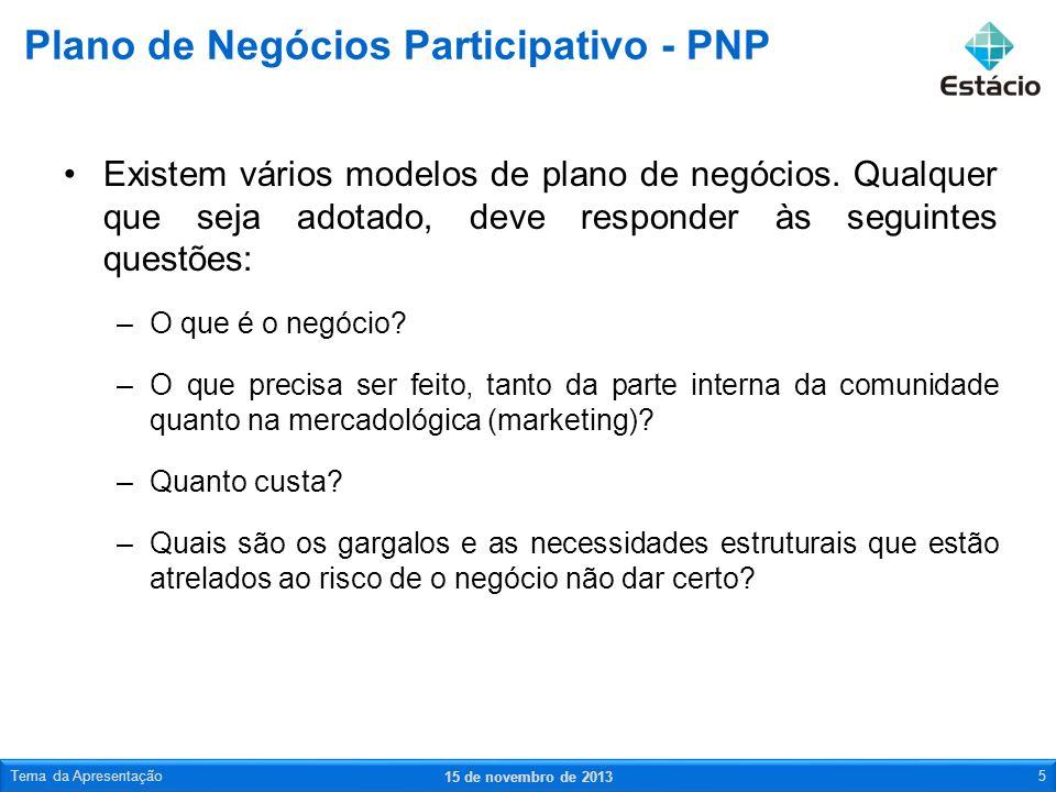 Exemplo de PNP 15 de novembro de 2013 Tema da Apresentação6