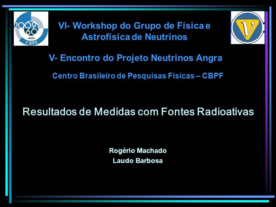 Resultados de Medidas com Fontes Radioativas Centro Brasileiro de Pesquisas Físicas – CBPF Rogério Machado Laudo Barbosa V- Encontro do Projeto Neutri