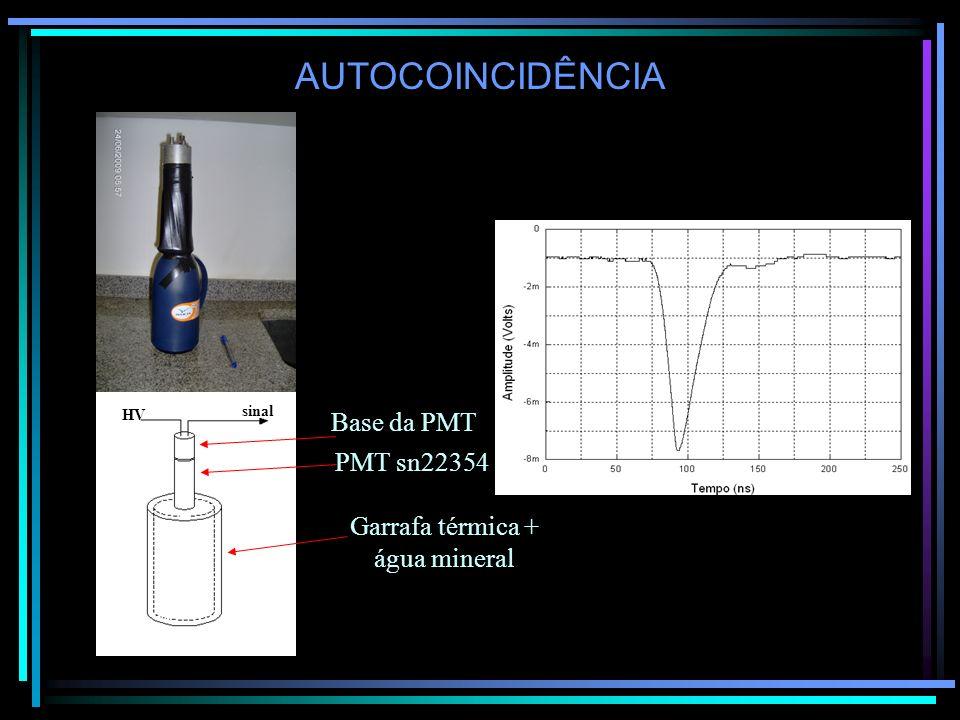 AUTOCOINCIDÊNCIA Garrafa térmica + água mineral PMT sn22354 Base da PMT HV sinal