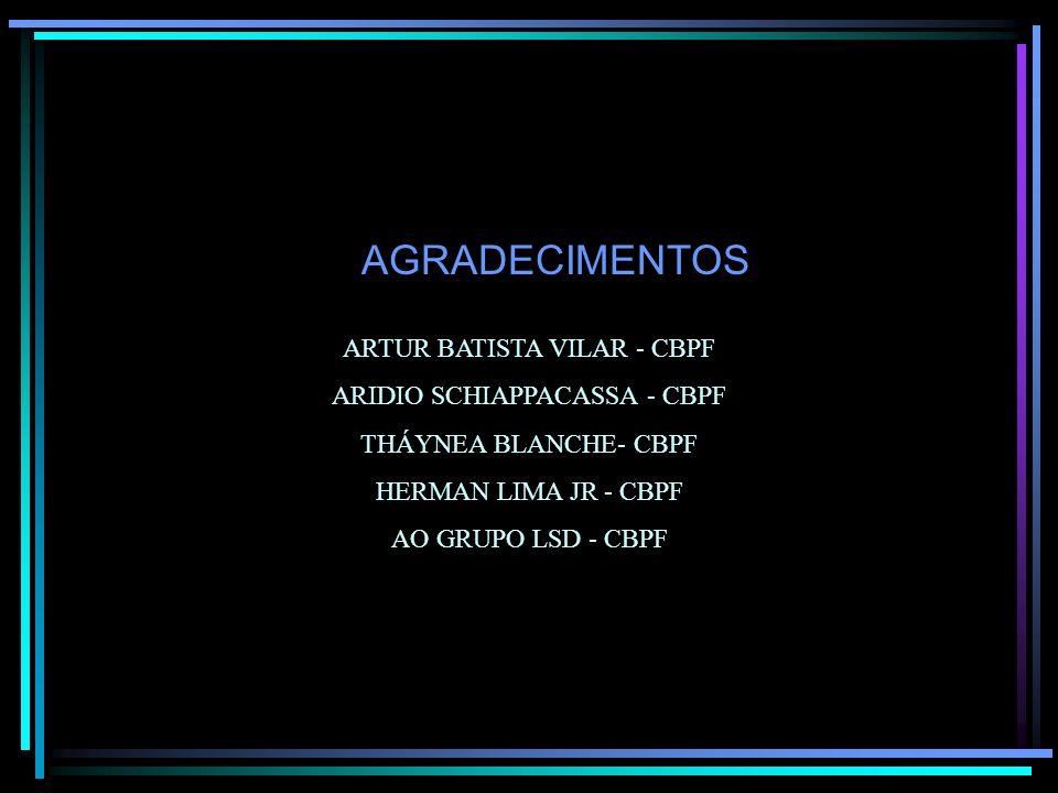AGRADECIMENTOS ARTUR BATISTA VILAR - CBPF ARIDIO SCHIAPPACASSA - CBPF THÁYNEA BLANCHE- CBPF HERMAN LIMA JR - CBPF AO GRUPO LSD - CBPF