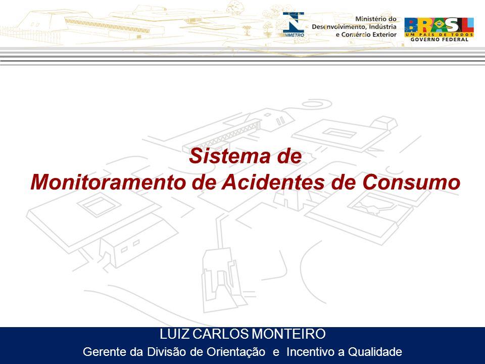 Sistema de Monitoramento de Acidentes de Consumo LUIZ CARLOS MONTEIRO Gerente da Divisão de Orientação e Incentivo a Qualidade