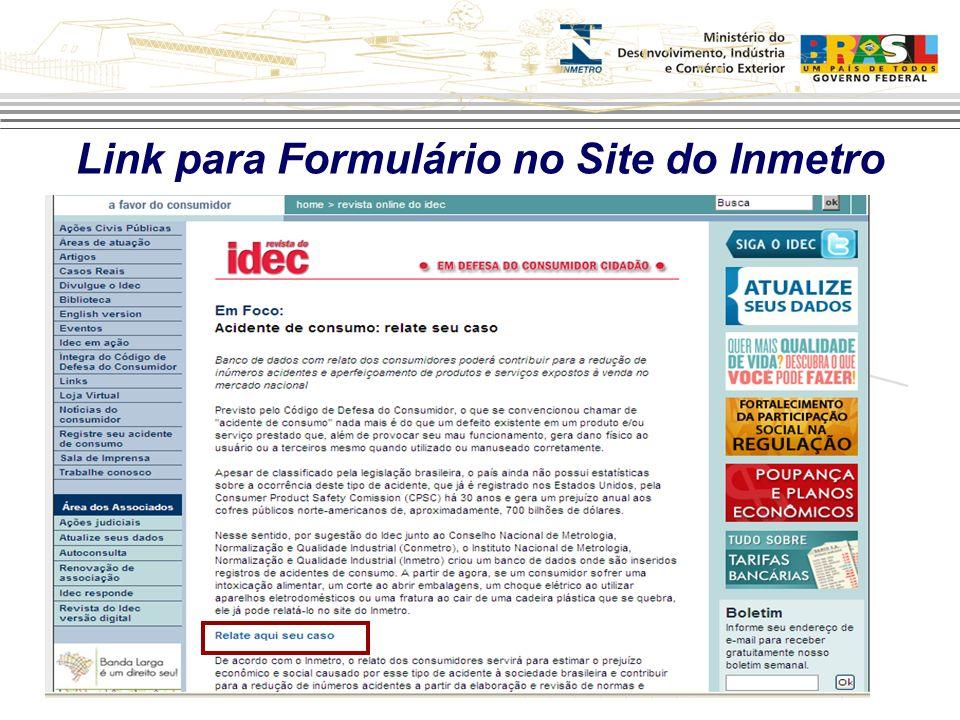 Link para Formulário no Site do Inmetro